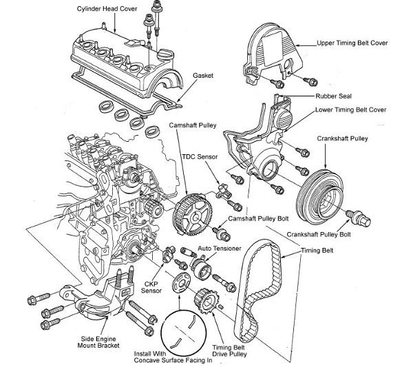 Cambio De Banda De Distribucin Honda Civic 4 Cil 1 7lts Sohc